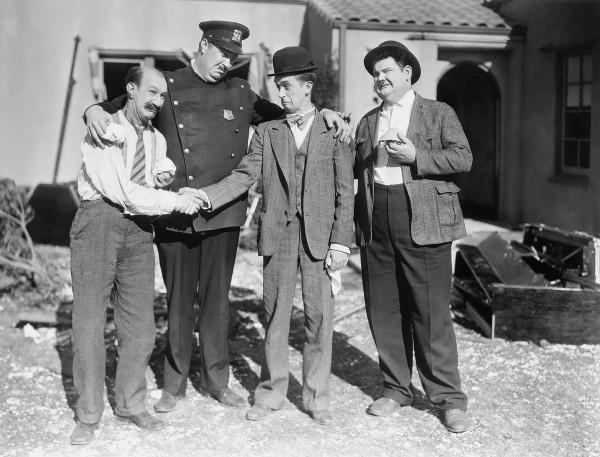 James Finlayson, Tiny Sandford, Stan Laurel, Oliver Hardy