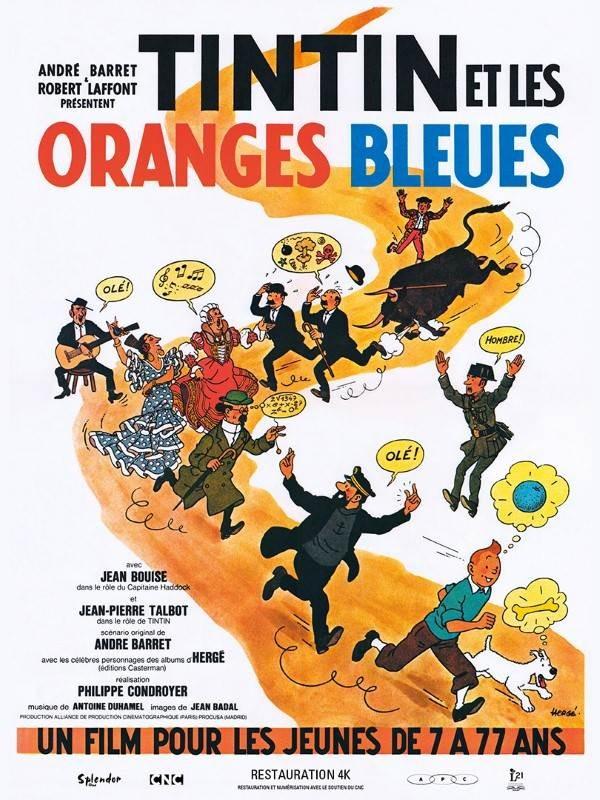 Tintin et les Oranges bleues, Affiche version restaurée