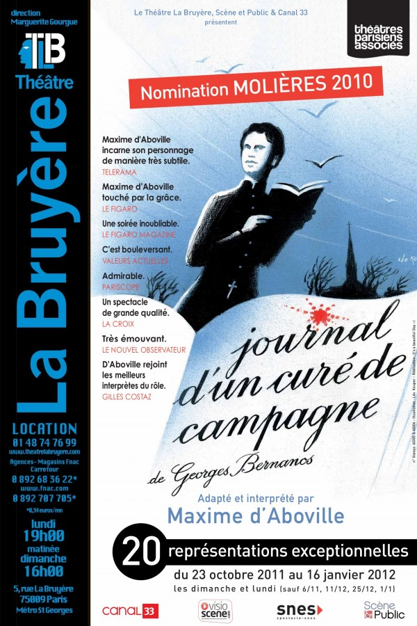 Journal d 39 un cur de campagne th tre la bruy re l 39 officiel des spectacles - Theatre de la bruyere ...