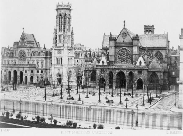 La place Saint-Germain l'Auxerrois, Photo de E. Baldus, entre 1858 et 1870, Bibliothèque du Congrès, Washington.