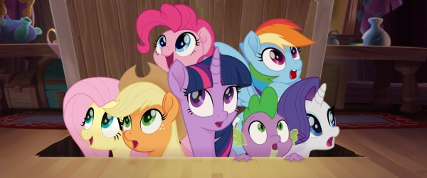 Fluttershy,  Applejack, Twilight Sparkle, Pinkie Pie, Spike, Rainbow Dash, Rarity