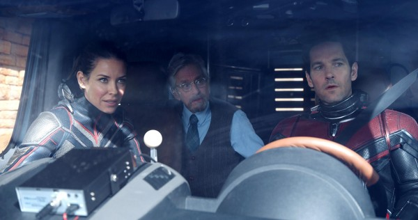 Evangeline Lilly (Hope Van Dyne / La Guêpe), Michael Douglas (Hank Pym), Paul Rudd (Scott Lang / Ant-Man)