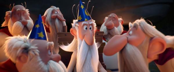 Panoramix (au centre), personnages