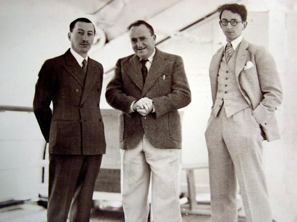 Bernard Natan en voyage d'étude aux USA avec Diamant-Berger et Marco de Gastine (réalisateur du Jeanne d'Arc).