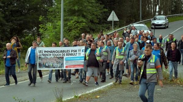 Manifestation des ouvriers de l'usine Sodimatex en 2010 à Crépy-en-Valois