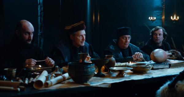 Jean-Robert Lombard (Père Blaise) & Antoine de Caunes (Dagonet) & Christian Clavier (jurisconsulte) & François Rollin (roi Loth)