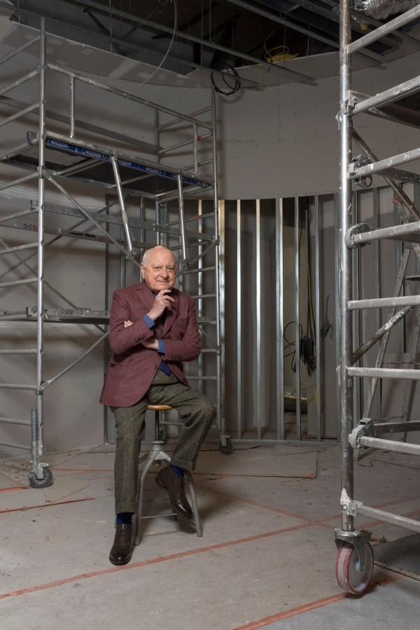 Pierre Bergé dans les travaux du Musée Yves Saint Laurent Paris, 2017.