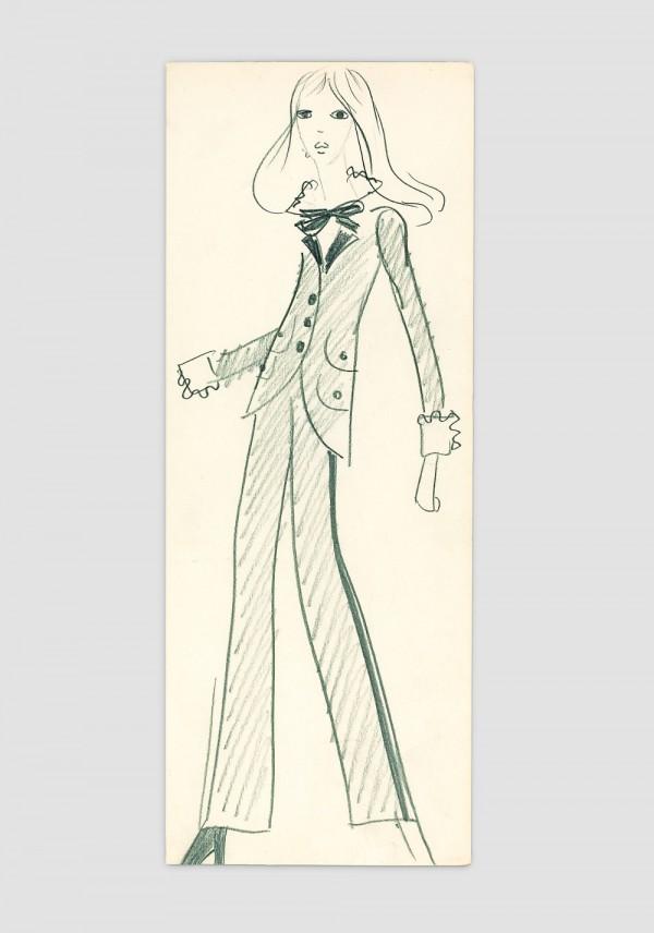 Yves Saint Laurent, Croquis original du premier smoking, Collection haute couture automne-hiver 1966.