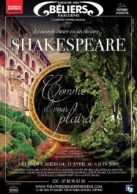 Shakespeare, Comme il vous plaira au Théâtre des Béliers parisiens