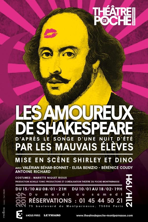 Les Amoureux de Shakespeare au Théâtre de Poche, mis en scène par Shirley et Dino
