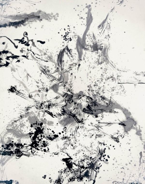 Zao Wou-Ki, Sans titre, 2006, Encre de Chine sur papier, 274,5 x 213,5 cm.