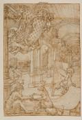 Focus peignant dans une galerie, Bande de papier rajoutée en partie supérieure. Verso: texte de Focus. Dim.: H. 0,45; L. 0,30 m. Paris, collection particulière, pl. 6.