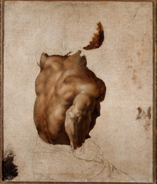 """Théodore Géricault (1791-1824) Étude de dos (d'après le modèle Joseph) pour « Le Radeau de """"La Méduse"""" », vers 1818-1819 Huile sur toile et pierre noire, 56 × 46 cm"""