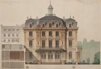 Dessin aquarellé de la façade sur rue, Denis-Louis Destors, 1876