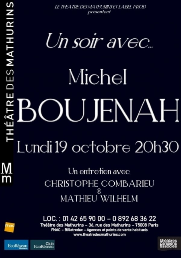 Un soir avec ... Michel Boujenah au Théâtre des Mathurins