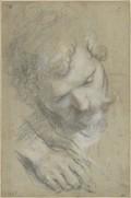 Federico Barocci, Urbino vers 1526/1535 – 1612 Urbino, Tête d'un homme barbu, inclinée vers la droite et étude de sa main, années 1590