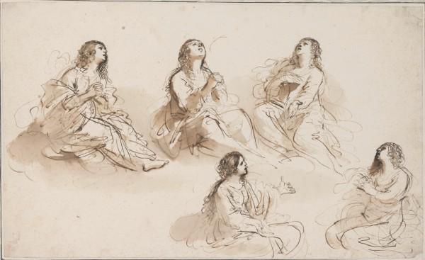 Giovanni Francesco Barbieri, dit Guercino (Cento 1591 - 1666 Bologne), Cinq études pour Marie-Madeleine, vers 1620