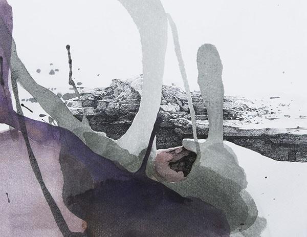 Min Jung-Yeon | Calanque | 22,7 x 29,4cm | encre de Chine et acrylique sur papier | 2020