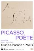 Picasso poète - Affiche de l'exposition - Pablo Picasso, « Sur le dos de l'immense tranche de melon ardent », 1935, dessin à la plume, dessin au crayon de couleur, encre de Chine, vergé, Musée national Picasso-Paris