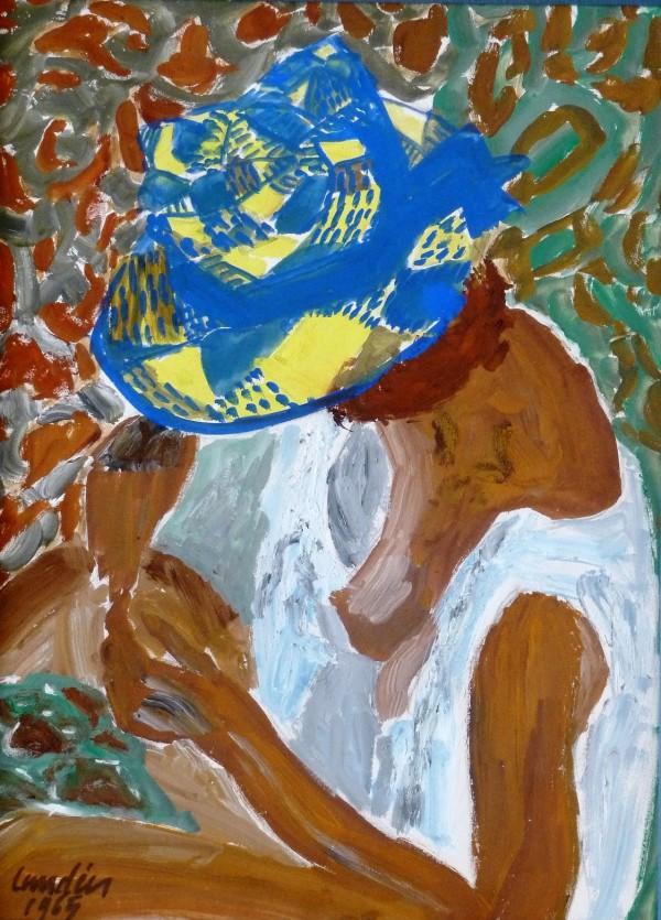 Romaine au chapeau de paille bleu, gouache, 1965