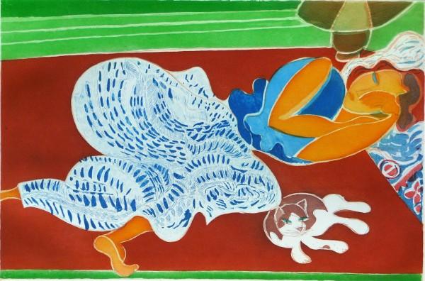 La Femme au chat, aquatinte, 2004
