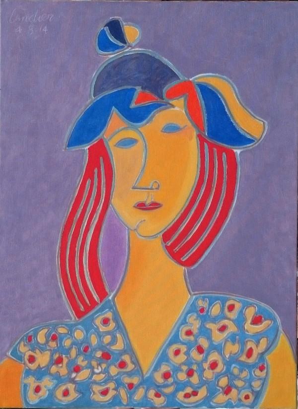 La Rousse au chapeau, 2014, huile, 81x60 cm