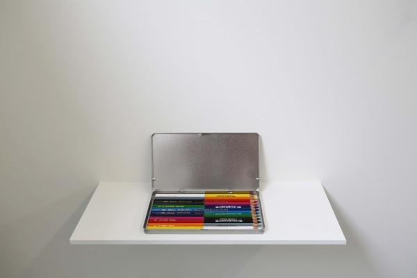 Stéphanie Saadé, Cut Colour, crayons de couleur coupés et collés et boite en aluminium, 18 x 10 cm, 2014