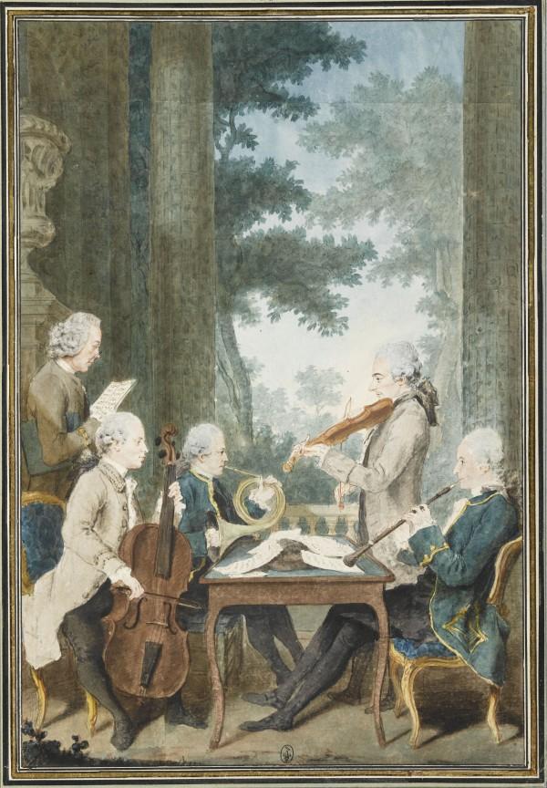 La musique du prince de Conti jouant un quatuor Mine de plomb, sanguine, aquarelle et gouache ; H. 34,6 cm ; L. 23,3 cm