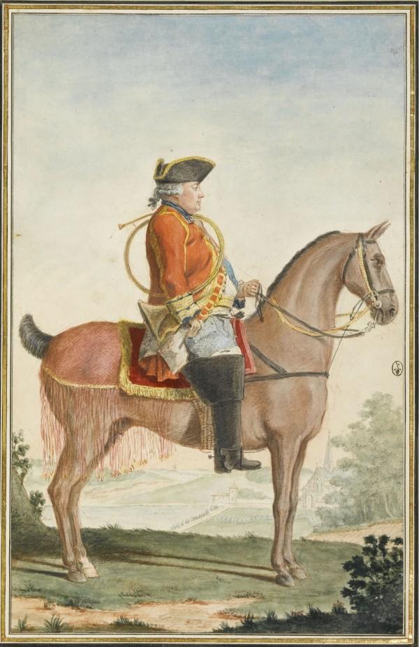 Louis-Philippe, duc d'Orléans, dit le Gros (1725-1785), en tenue de vénerie Mine de plomb, sanguine, aquarelle et gouache ; H. 31,4 cm ; L. 24,7 cm