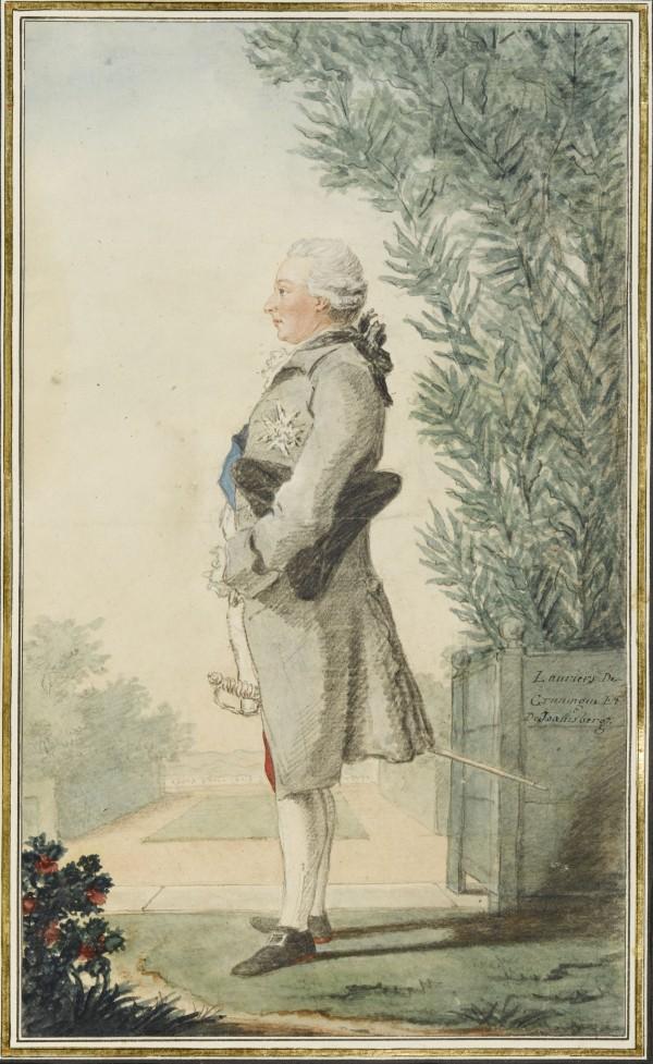 Louis-Joseph de Bourbon, prince de Condé (Paris, 1736-Paris, 1818) Mine de plomb, sanguine, aquarelle, gouache ; H. 29 cm ; L. 17,3 cm