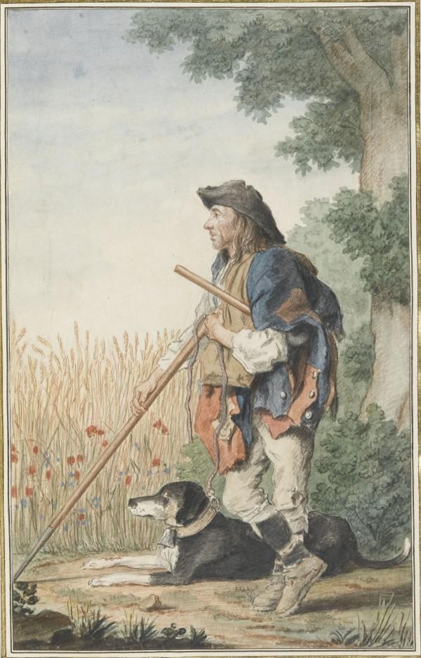 Le garde-blé de Villers-Cotterets Mine de plomb, sanguine, aquarelle, gouache ; H. 31,2 cm ; L. 19,7 cm