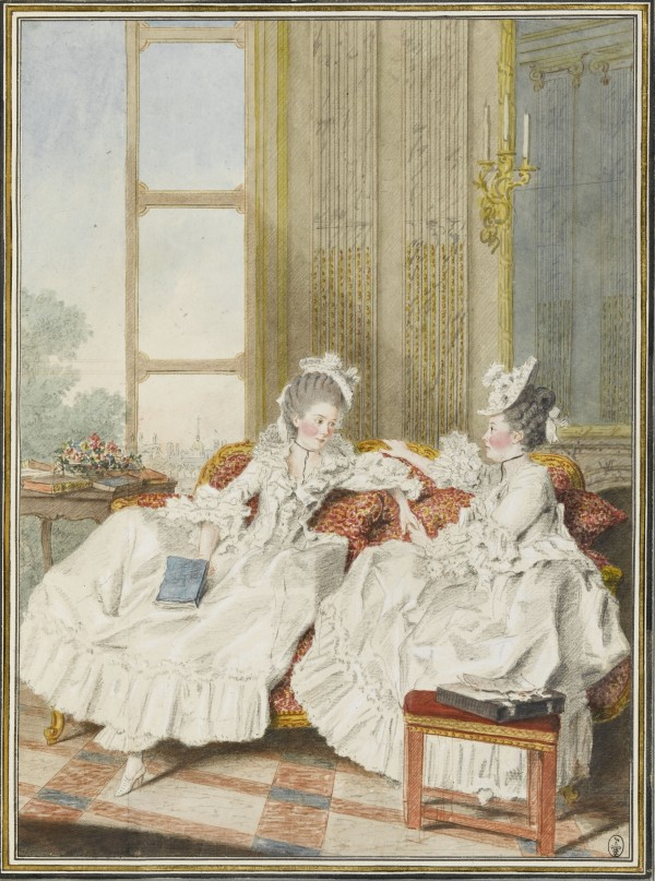 La comtesse de Blot, sœur du comte d'Ennery, et la marquise de Barbantane Mine de plomb, aquarelle, gouache, sanguine ; H. 32 cm ; L. 23,6 cm