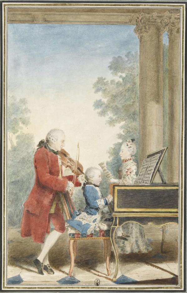 Wolfgang-Amadeus Mozart (Salzbourg, 1756-Vienne, 1791) enfant jouant avec son père Léopold Mozart (Augsbourg, 1719-Salzbourg, 1787) et sa sœur Maria Anna (dite Nannerl) (Salzbourg, 1751-1829) Mine de plomb, sanguine, aquarelle et gouache ; H. 32,8 cm ; L. 20,3 cm