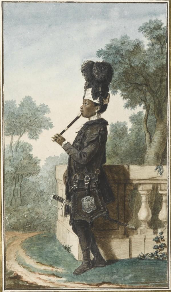 Narcisse, jeune noir au service des Orléans Mine de plomb, sanguine, aquarelle, gouache, papier ; H. 32 cm ; L. 18,5 cm