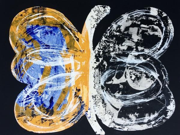 Jorge Enrique, Mariposa azul, Technique mixte sur panneau, 102 x 76 x 6 cm