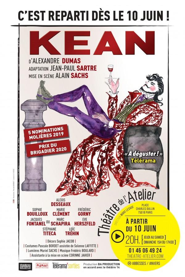 Affiche Kean - Théâtre de l'Atelier
