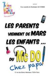 Affiche Les parents viennent de Mars... les enfants du McDo ! Chez papa - Théâtre des Blancs Manteaux