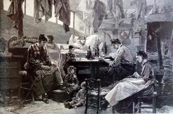 Fabrication de couronnes funèbres pour la fête des morts  Lithographie de Haenen parue dans L'illustration, 29 oct. 1887.