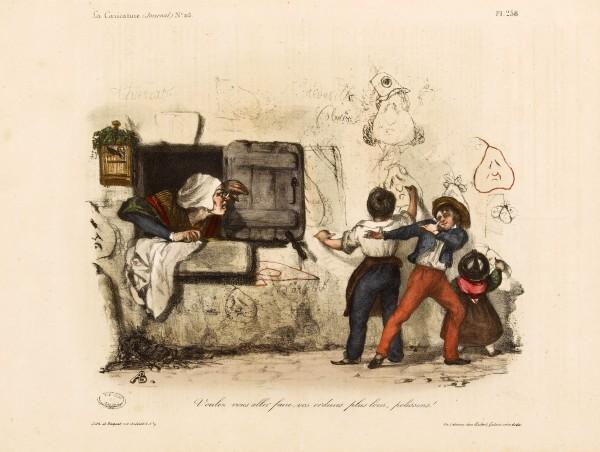 Polissons… Lithographie de Auguste Bouquet pour illustration de périodique,1833.