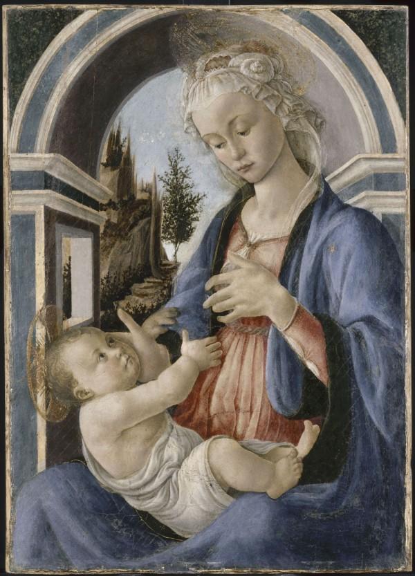 Alessandro Filipepi dit Botticelli (vers 1445 – 1510), Vierge à l'Enfant dite Madone Campana, vers 1467-1470, tempera sur bois de peuplier, 72 x 51 cm, Avignon, Musée du Petit Palais, dépôt du Musée du Louvre, 1976