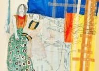 (détail) Estendal 004, 2020 Sac en plastique tissé, broderie, dessin, scotch - 205 x 150 cm