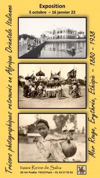 Affiche de l'exposition Trésors photographiques retrouvés en Afrique Orientale italienne à l'Espace Reine de Saba