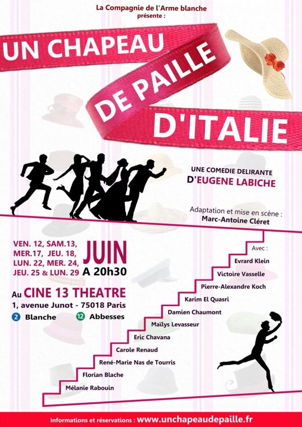 Un chapeau de paille d'Italie au Ciné 13 Théâtre
